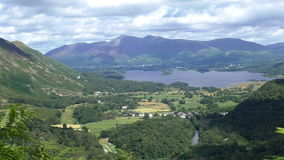 Derwentwater lake and mountains scenery from above. Beautiful scenery of Lake District,England,UK from above.Green Borrowdale valley down in the centre with stock footage