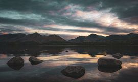 Derwentwater at sunset royalty free stock image