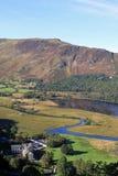 Derwentwater, svart Crag och jungfru- hed, Cumbria royaltyfri foto
