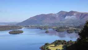 Derwentwater View. The Hidden View across Derwentwater in the English Lake District National Park. The town of Keswick can be seen and beyond is Skiddaw the stock video