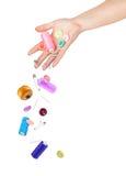 Des accessoires de chute de mains pour la couture Photos libres de droits