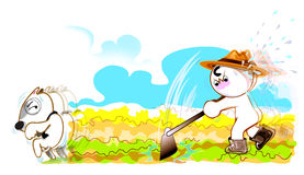 Des agriculteurs sérieux à planter le chien de légumes est allés Photo stock