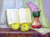 Des Aquarells Leben noch Buchen Sie, Fliedern in einem Vase und Äpfel Stockbilder