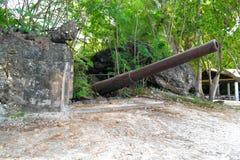 Des armes à feu japonaises plus anciennes sur l'île de Saipan Images libres de droits