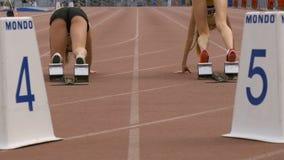 Des athlètes de fille sont disposées à commencer au sprint banque de vidéos
