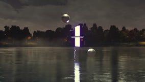 Des autres dimensionnent le portail au-dessus de la surface de lac de nuit clips vidéos