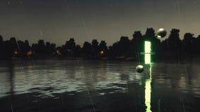 Des autres dimensionnent le portail au-dessus du lac la nuit pluvieux banque de vidéos