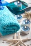 Des Badekurortes Leben noch mit Tuch Stockbilder