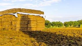 Des balles de foin sont empilées dans un domaine en Toscane, Italie Photographie stock