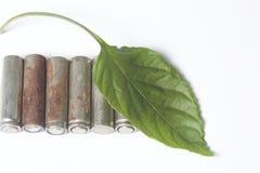 Des batteries de rebut de différents types sont dispersées Couvert de feuille juteuse verte Photographie stock libre de droits