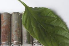 Des batteries de rebut de différents types sont dispersées Couvert de feuille juteuse verte Photo stock