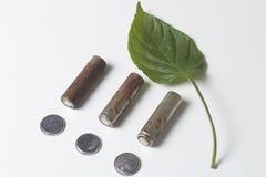 Des batteries de rebut de différents types sont dispersées Est tout près une feuille juteuse verte Image libre de droits
