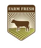 Des Bauernhofaufkleberbiologischen lebensmittels der Naturfelder Retro- Szenenbildlandwirtschafts-Symbolvektor Stockfoto