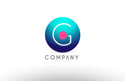 Des Bereichbuchstaben G-Alphabetes 3d Logo-Ikonendesign blaues rosa Lizenzfreie Stockbilder