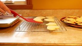 Des biscuits de sucre faits maison savoureux de Valentine de la grand-mère, faits avec amour et frais hors du four, sont transfér clips vidéos