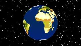 Des Bitspiels der Weinlese 8 der Planetenerdkugeldrehbeschleunigung Pixel gezeichnete nahtlose Animation Endlos-Schleife mit Ster lizenzfreie abbildung
