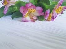 Des Blüten-Blumenstraußes des Romanze Designs der Alstroemeriablume weißer verzierter hölzerner Hintergrund Stockfotografie
