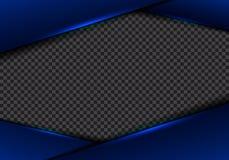 Des blauen metallisches blaues Neonlicht Rahmenplans der Zusammenfassungsschablone auf transparentem Hintergrund moderne futurist lizenzfreie abbildung