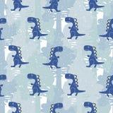 Des blauen nahtloses Vektormuster Farbjungen Dino stock abbildung
