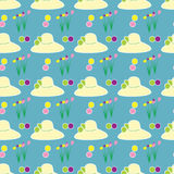 Des Blumenfeldes des Hutes weibliche Hintergrundmuster-Zusammenfassungszeichnung blaue Lizenzfreie Stockfotos