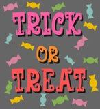 Des bonbons ou un sort avec l'affiche de sucreries Photos libres de droits