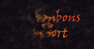 Des bonbons uo un sort (Trick or Treat) French text dissolving into dust from left stock video footage