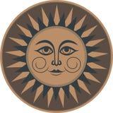 Des braunen ethnischen geheimnisvolle lächelnde Sonne Verzierungs-Freskos der Weinlese Lizenzfreie Stockfotos