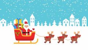 Des cerfs communs sont amenés Santa Claus sur un traîneau avec des cadeaux illustration stock