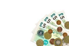 Des certains billets et monnaie de livre sterling britannique image stock