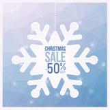Des couleurs bleu-clair d'insectes de vente de flocon de neige de Noël, peuvent être employées comme affiche ou bannière Photographie stock