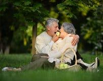 Des couples plus anciens en parc avec des pommes Images stock