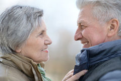 Des couples plus anciens sur une promenade images libres de droits