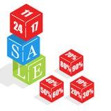 Des cubes colorés par s en ` d'enfants sont présentés la vente de mot illustration stock
