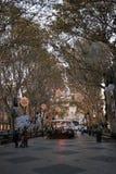 DES de Passeig soutenu avec la lumière de Noël de soirée Photo stock