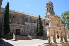 Des der Platz Sankt MariaÂs in der spanischen Stadt von Baeza Stockfotos