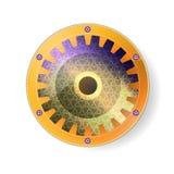 Des Designs heilige mechanische Geometrie gut Andenken - Gangsymbol im orange Rahmen Auf dem weißen Hintergrund Vektor illustrat stock abbildung