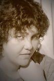 Des Duotoneffektes der jungen Frau blaue Augen Stockbild