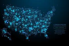Des Etats-Unis de carte poly bleu bas Image libre de droits