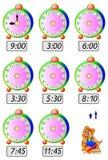 Des exercices pour des enfants - devez dessiner des mains d'horloge aux endroits correspondants Photo stock