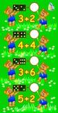 Des exercices pour des enfants - devez résoudre des exemples et écrire les nombres en cercles appropriés Photo libre de droits