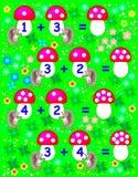 Des exercices pour des enfants - devez résoudre des exemples et écrire les nombres sur les champignons appropriés Photographie stock libre de droits