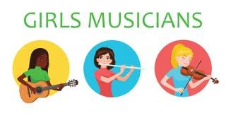 Des filles de musiciens de différentes nations est inspirées jouer des instruments de musique Violoniste, flûtiste, guitariste Ve illustration libre de droits
