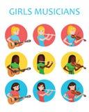 Des filles de musiciens est inspirées jouer différents instruments de musique Violoniste, flûtiste, illustration de Vector de gui illustration de vecteur