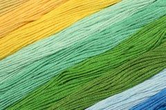 Des fils multicolores de coton pour la broderie sont arrangés dans une rangée Image stock