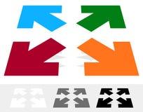 Des flèches dans la direction 4 - remettez à la côte, alignez, maximisez l'icône de concept illustration de vecteur