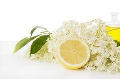 Des fleurs plus anciennes avec le citron et la bouteille de sirop, d'isolement image libre de droits