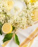 Des fleurs, un sucre et des citrons plus anciens, vue supérieure photo libre de droits