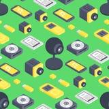 Des Gerät-Vektorcomputers der Technologie isometrische Muster-Netzausrüstung nahtlose Grafische Kommunikation der isometrischen W lizenzfreie stockfotografie