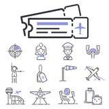 Des gesetzten Illustrationsflug-Flughafentransport-Passagierdesignabfahrt Fluglinienentwurfs des Luftfahrtikonenvektors grafische Stockbilder
