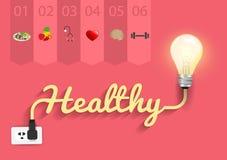 Des gesunden kreatives Glühlampedesign Ideenkonzeptes des Vektors Lizenzfreie Stockfotos